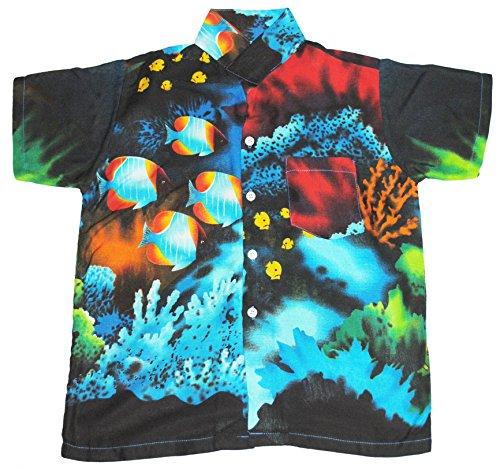 Hawaii Hemd Jungen Tropisch Fisch Jungen Mädchen Kinder - S EU 98/194, Hellblau