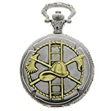 New Brand Mall Mens Classic Retro Vintage Silver With Golden Fire Fighter Quartz Pocket Watch