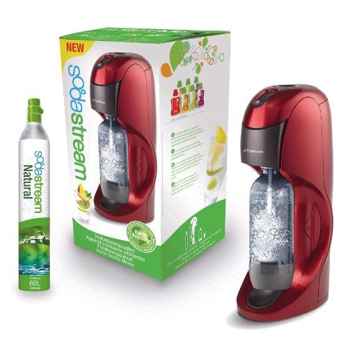 SodaStream 1015112490 Wassersprudler Dynamo titan/rot inkl. 1x Alu-Zylinder 60l und 1x 1-Liter PET-Flasche