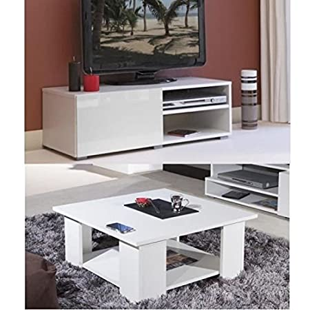 LIME Salon complet coloris blanc brillant 2 pieces 1 meuble TV 96cm + 1 table basse carrée
