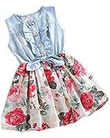 Amoin Baby Girl Tutu Denim Dress Short Sleeve Lace Princess Party Skirts