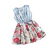 Girls Princess Dress Denim Skirts Bow Flower Ruffled Cute Sundress 2-6y