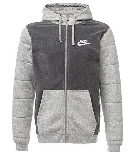 New Nike Men's Sportswear Full-Zip Hoodie Dk Grey Heather/Dk Grey/White Medium