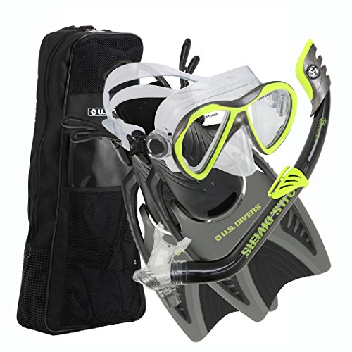 U.S. Divers Youth Flare Junior Silicone Snorkeling Set, Neon Black,