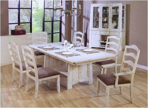 White Eight Piece Dining Set Madison Distressed