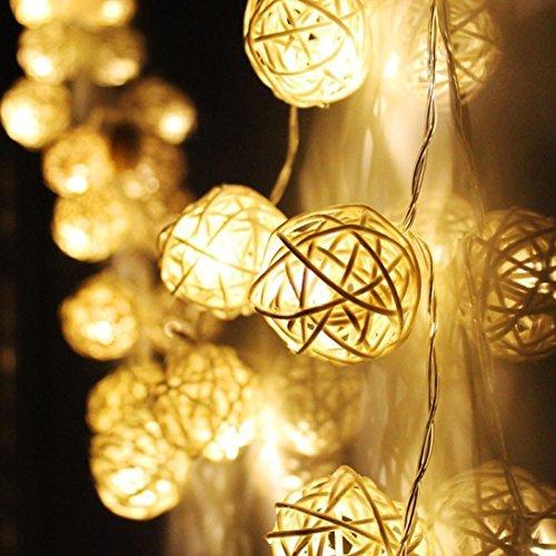 Malloom® 20 LED Blanco cálido ratán Bola de hadas de la secuencia...