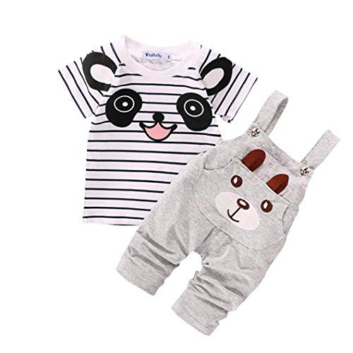 Toddler Baby Set ragazzo piccolo orso manica corta Set di striping (2-3 anni, Grigio)