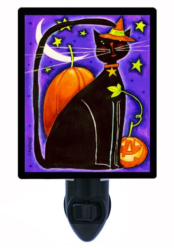Halloween Night Light - Cat And Pumpkins - Black Cat Led Night Light front-1039666