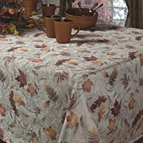 Natures Leaves Jacquard Printed Tablecloth
