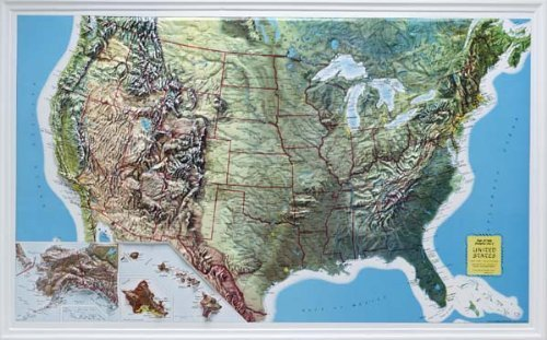 U.S. Raised Relief Topographical Map - 3D - Rand McNally (Topographical World Map compare prices)