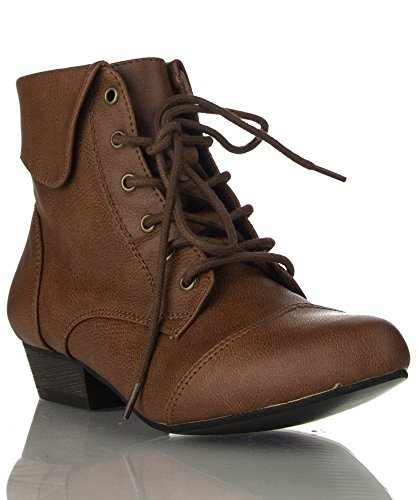 Womens-Pointy-Toe-Oxford-Low-Chunky-Heel-Lace-Up-Ankle-Bootie-Boots-With-Collar-Flip-Over