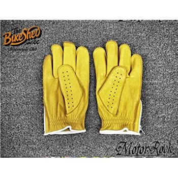 New Deerskin Leather Retro Vintage Motorcycle Gloves Riding Zipper Hole Yellow