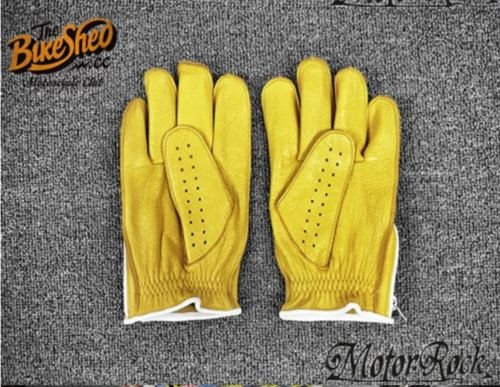 New Deerskin Leather Retro Vintage Motorcycle Gloves Riding Zipper Hole Yellow 2