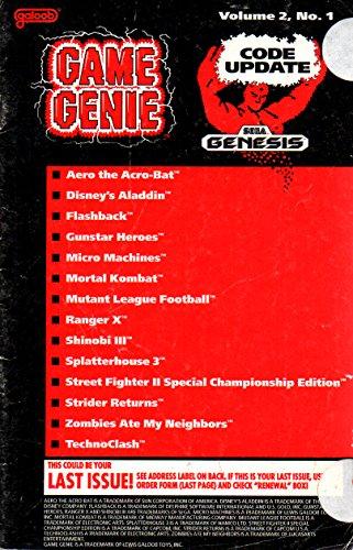 game-genie-codebook-update-for-sega-genesis-volume-2-number-1-supplement-code-update-booklet-with-ad