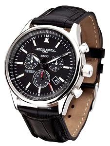 Jorg Gray JG6500-44 - Reloj cronógrafo de caballero de cuarzo con correa de piel negra - sumergible a 100 metros
