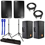 "JBL EON615 Powered 15"" 2-Way System Pair w/ Tripod Speaker Stands, Covers, XLR Cables & Cable Ties by JBL"