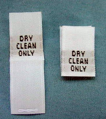 100 pcs WOVEN CLOTHING LABELS, SIZE TAGS WHITE – DRY CLEAN ONLY