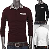 NEW Fashion Grid Patched Mens Casual Slim Short-sleeved Polo Shirts