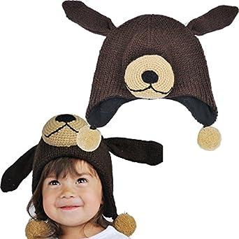 Kids Sleepy Dog Animal Winter Warm Hat Beanie-brown-one
