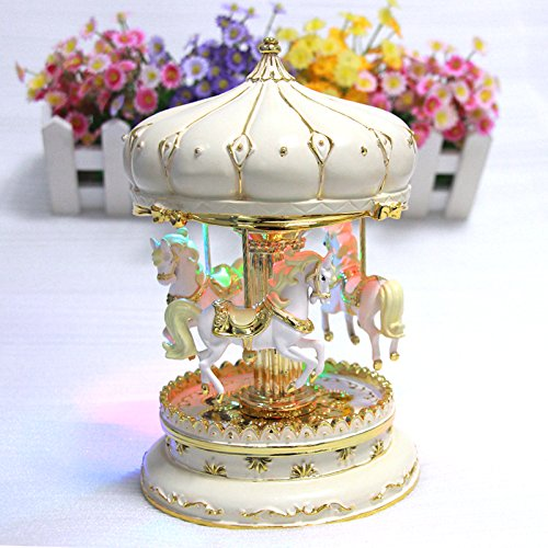 LIWUYOU Luxury Large Size Color Change LED Light Luminous Rotation Merry-Go-Round Music Box Carousel Horse With the Castle in the Sky Tune Color Beige