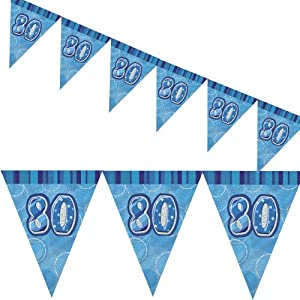 12ft Blue Sparkle Happy 80th Birthday Pennant Flag Banner Party Decoration . from Unique