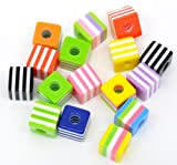 Pack of 100 Mixed Striped Cube Resin Beads 10X9mm, hole 3.8mm