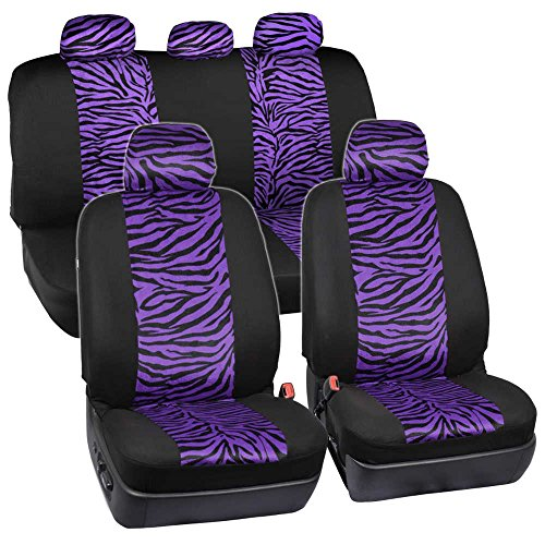 ComfySeats Velvet Animal Car Seat Covers Two Tone Purple Zebra Accent on Black 9pc (Purple Zebra Back Seat Cover compare prices)