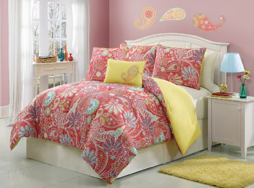4 Piece Paisley Twin Size Bedding Comforter Set Bed In A Bag By Plush C Collection