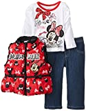 Disney Baby Girls' 3 Piece Mickey Vest and Pant Set