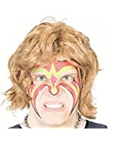 Ultimate Wrestler Extreme Warrior Makeup Temporary Tattoo Wig & Armbands Costume Set
