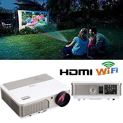 EUG Home Cinema Theater Hd Ready LED LCD Android Projector Built-in Speakers Keystone Correction Support Hdmi USB Av VGA for Tv KTV Movies Video Games Gaming Business Education with Wifi