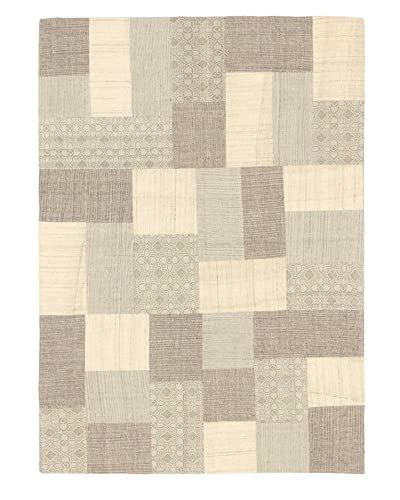 Hand Woven Moldovia Patch Wool Kilim, Cream/Light Grey, 4' 6 x 6' 5