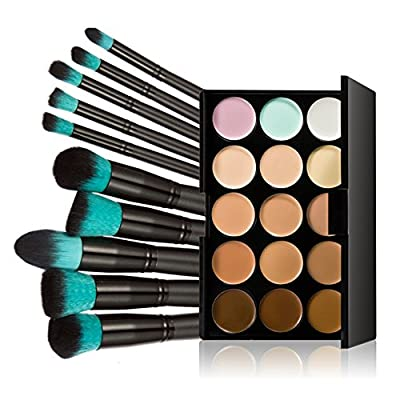 Chinatera Chinatera 15 Colors Contour Face Cream Makeup Concealer Palette with 10pcs Makeup Brushes