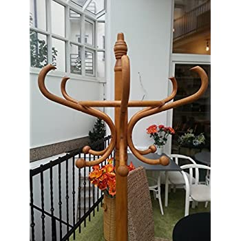 Coat and Hat Wooden Rack Antique Style with Umbrella Stand Hanger with 12 Hooks Floor Peg Hanger for Clothes Coat and Hat Rack Stand
