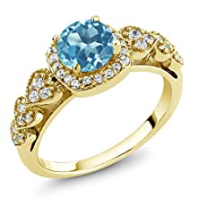 buy 1.22 Ct Round Swiss Blue Topaz 18K Yellow Gold Plated Silver Ring