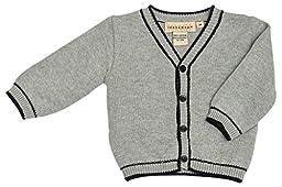 Boutique Collection Boy\'s V-Neck Cardiagn With Black Trim Detail 3 Months Grey