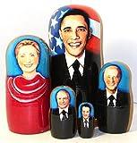 New Set of 5 pcs Nesting Dolls Barack Obama Authentic Russian Wooden Matryoshka 17 cm 6.6 inch Birthday Gifts Home Decoration