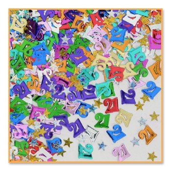 "Beistle CN142 ""21"" and Stars Confetti"