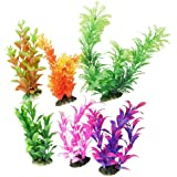 6 Pcs Assorted Color Aquarium Plastic Plant Decoration w Ceramic Base