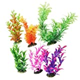 Aquarium Plastic Plant Decoration w Ceramic Base (6pcs Color)