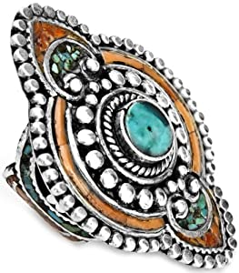 Turquoise with Coral Ring from Afghanistan - Sterling Silver by Exotic India