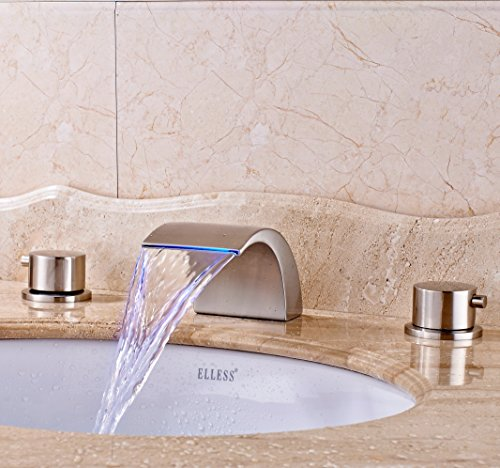Find Bargain Senlesen Widespread LED Bathroom Waterfall Basin Faucet Dual Handle Bathroom Sink Fauce...