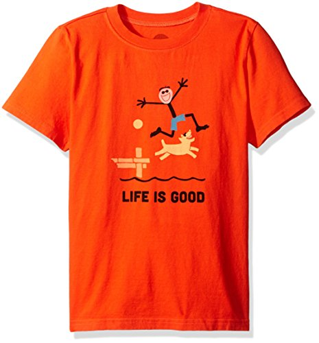 Life is good Boy's Elemental Dock Jump Tee, Flame Orange, X-Large (Life Is Good Kids compare prices)