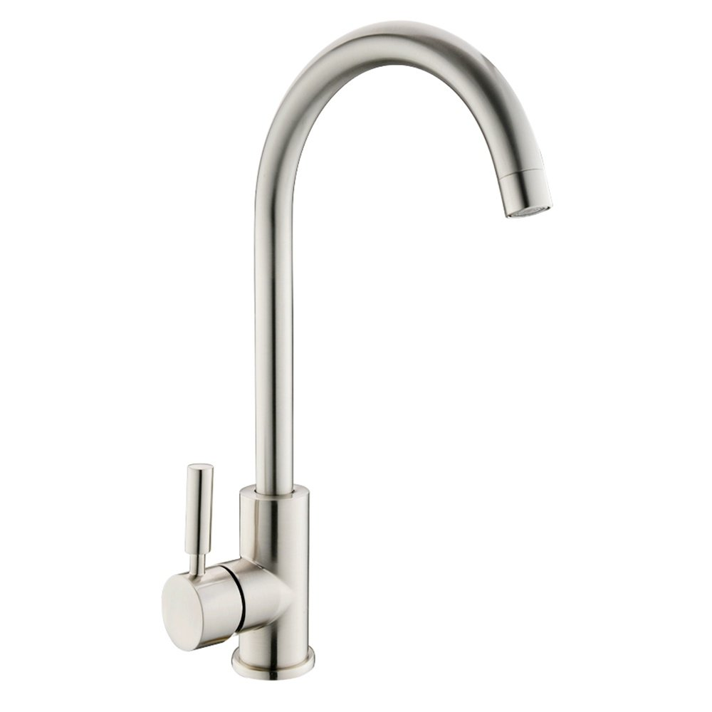 UFAUCET Contemporary High-arch Gooseneck Stainless Steel 360 Degree Swivel Spout Hot and Cold Water Kitchen Sink Faucet,Brushed Nickel Faucets