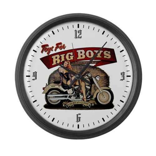 Large Wall Clock Toys for Big Boys Lady on Motorcycle