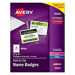 Avery Fold and Clip Name Badges, 3 x 4 Inches, White, Box of 30  (74553)