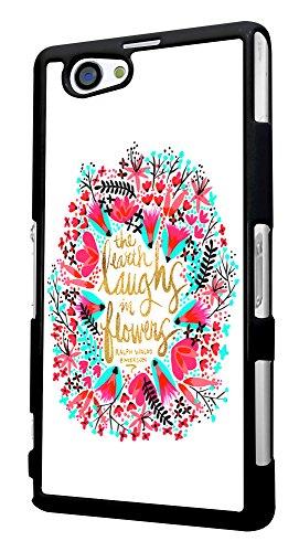 334 - Shabby chic Floral The Eart Smile in flowers Design für Alle Sony Xperia Z / Sony Xperia Z1 / Sony Xperia Z2 / Sony Xperia Z3 / Sony Xperia Z4 / Sony Xperia Z1 Compact / Sony Xperia Z2 Compact / Sony Xperia Z3 Compact / Sony Xperia Z4 Compact / Sony Xperia M2 / Sony Xperia M4 Fashion Trend Hülle Schutzhülle Case Cover Metall und Kunststoff - Bitte wählen Sie Ihr Telefonmodell und Farbe aus der Dropbox