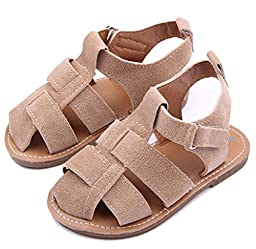 Femizee Toddler Baby Boys Hard Sole Summer Outdoor Sandals Khaki 9-12 Months