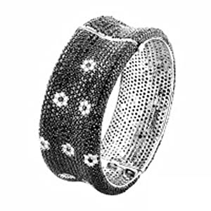 A Real 18KT BLACK & WHITE DIAMOND ETERNITY BANGLE WITH WHITE FLOWERS D.1.90CT BK.33.75