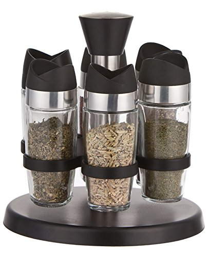 Black Rotating Spice Storage Set Salt and Pepper Shakers Spice